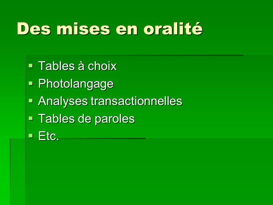 Des mises en oralité  Tables à choix  Photolangage  Analyses transactionnelles  Tables de paroles  Etc.