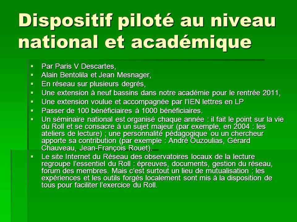 Dispositif piloté au niveau national et académique  Par Paris V Descartes,  Alain Bentolila et Jean Mesnager,  En réseau sur plusieurs degrés,  Un