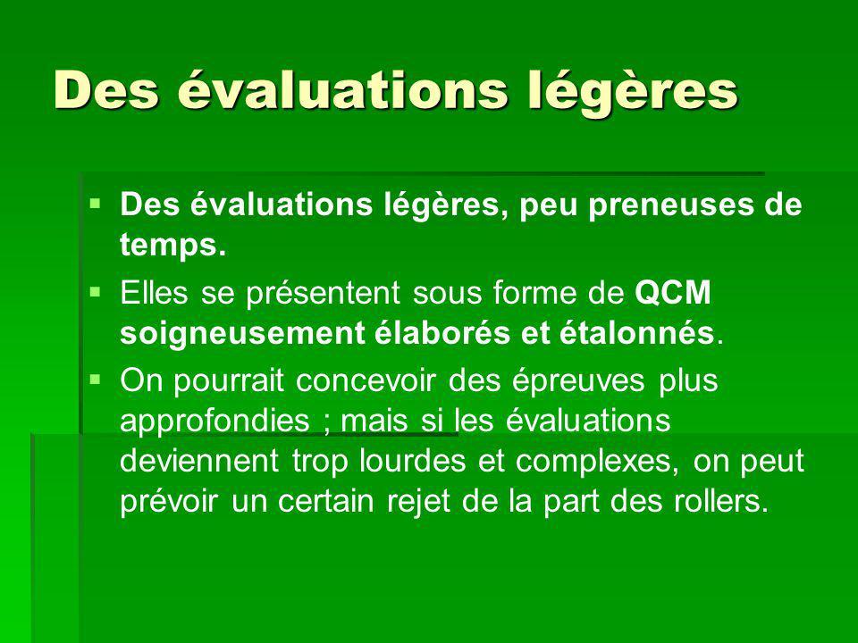 Des évaluations légères   Des évaluations légères, peu preneuses de temps.   Elles se présentent sous forme de QCM soigneusement élaborés et étalo