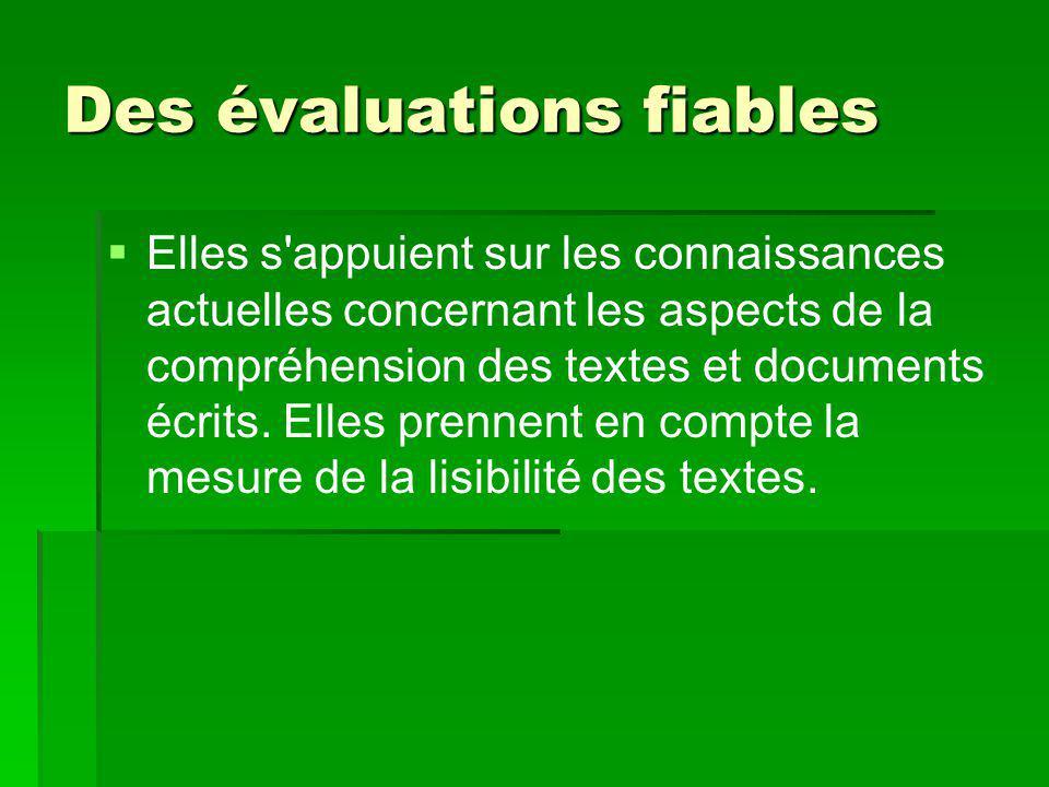Des évaluations fiables   Elles s'appuient sur les connaissances actuelles concernant les aspects de la compréhension des textes et documents écrits