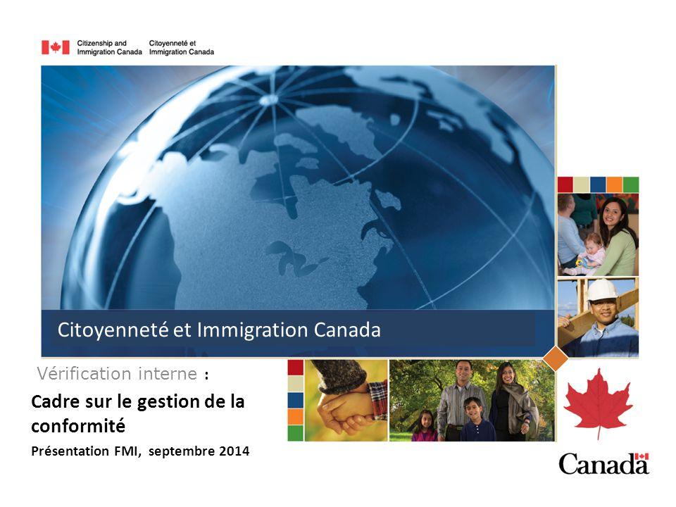 Vérification interne : Cadre sur le gestion de la conformité Présentation FMI, septembre 2014 Citoyenneté et Immigration Canada