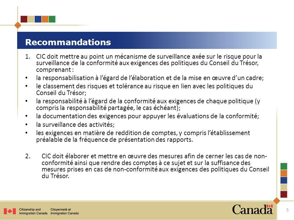 1.CIC doit mettre au point un mécanisme de surveillance axée sur le risque pour la surveillance de la conformité aux exigences des politiques du Conseil du Trésor, comprenant : la responsabilisation à l'égard de l'élaboration et de la mise en œuvre d'un cadre; le classement des risques et tolérance au risque en lien avec les politiques du Conseil du Trésor; la responsabilité à l'égard de la conformité aux exigences de chaque politique (y compris la responsabilité partagée, le cas échéant); la documentation des exigences pour appuyer les évaluations de la conformité; la surveillance des activités; les exigences en matière de reddition de comptes, y compris l'établissement préalable de la fréquence de présentation des rapports.