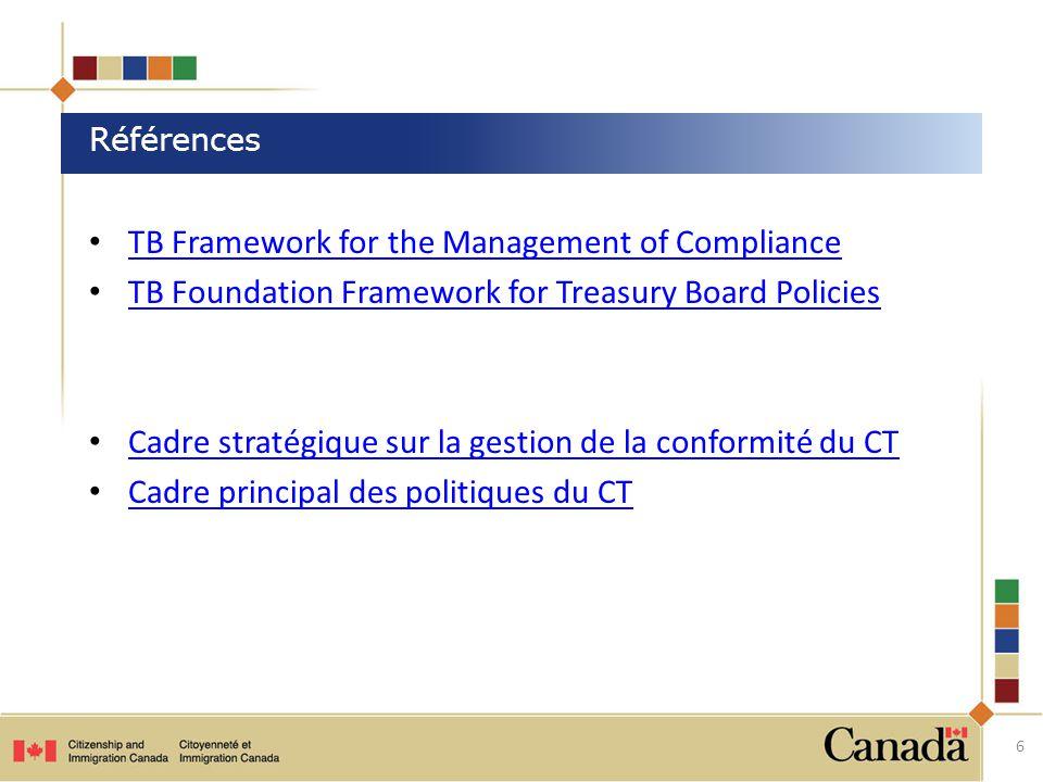 TB Framework for the Management of Compliance TB Foundation Framework for Treasury Board Policies Cadre stratégique sur la gestion de la conformité du CT Cadre principal des politiques du CT 6 Références