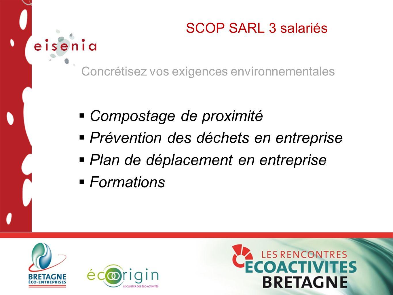 SCOP SARL 3 salariés  Compostage de proximité  Prévention des déchets en entreprise  Plan de déplacement en entreprise  Formations Concrétisez vos