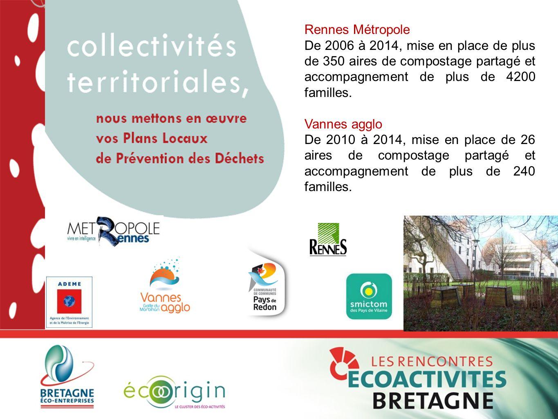 Rennes Métropole De 2006 à 2014, mise en place de plus de 350 aires de compostage partagé et accompagnement de plus de 4200 familles. Vannes agglo De