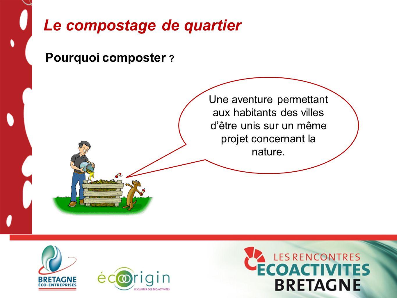 Le compostage de quartier Pourquoi composter ? Une aventure permettant aux habitants des villes d'être unis sur un même projet concernant la nature.