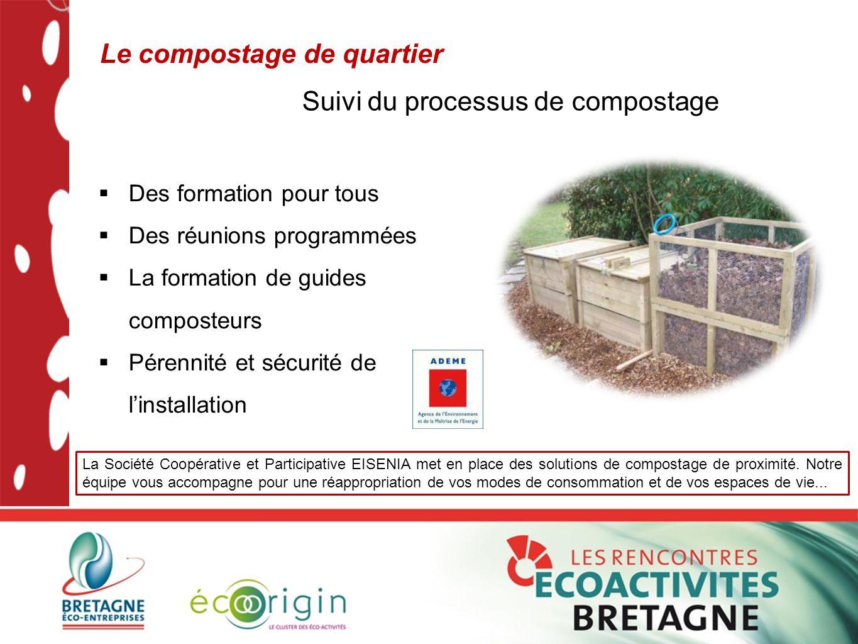Le compostage de quartier  Des formation pour tous  Des réunions programmées  La formation de guides composteurs  Pérennité et sécurité de l'insta
