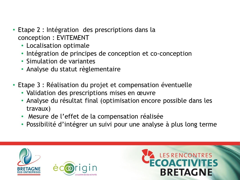 Etape 2 : Intégration des prescriptions dans la conception : EVITEMENT Localisation optimale Intégration de principes de conception et co-conception S