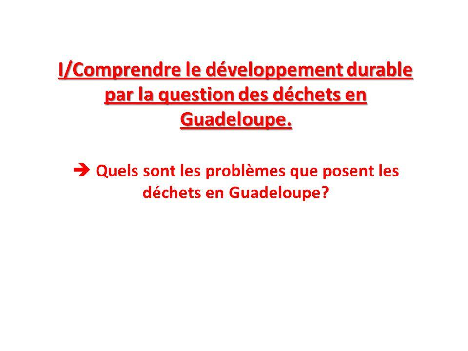 I/Comprendre le développement durable par la question des déchets en Guadeloupe.  Quels sont les problèmes que posent les déchets en Guadeloupe?