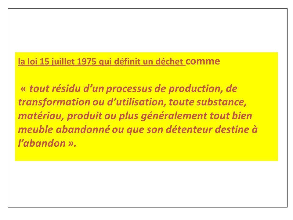 la loi 15 juillet 1975 qui définit un déchet comme « tout résidu d'un processus de production, de transformation ou d'utilisation, toute substance, ma
