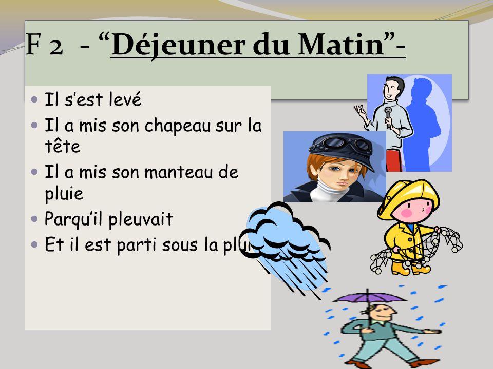 """F 2 - """"Déjeuner du Matin""""- Il s'est levé Il a mis son chapeau sur la tête Il a mis son manteau de pluie Parqu'il pleuvait Et il est parti sous la plui"""