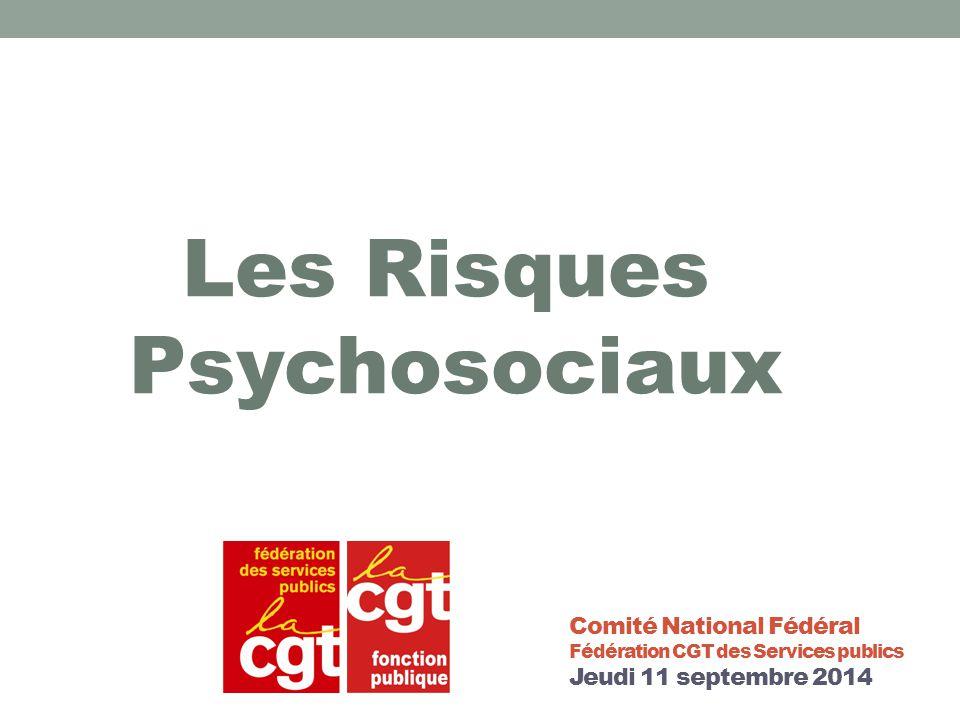 Comité National Fédéral Fédération CGT des Services publics Jeudi 11 septembre 2014 Les Risques Psychosociaux