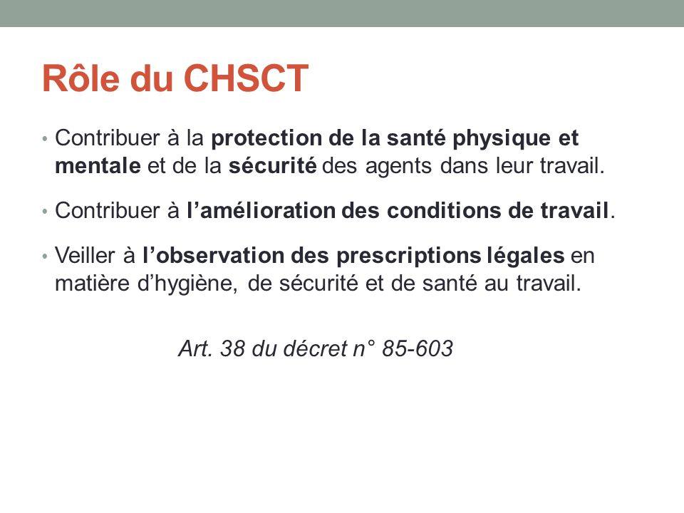 Rôle du CHSCT Contribuer à la protection de la santé physique et mentale et de la sécurité des agents dans leur travail. Contribuer à l'amélioration d