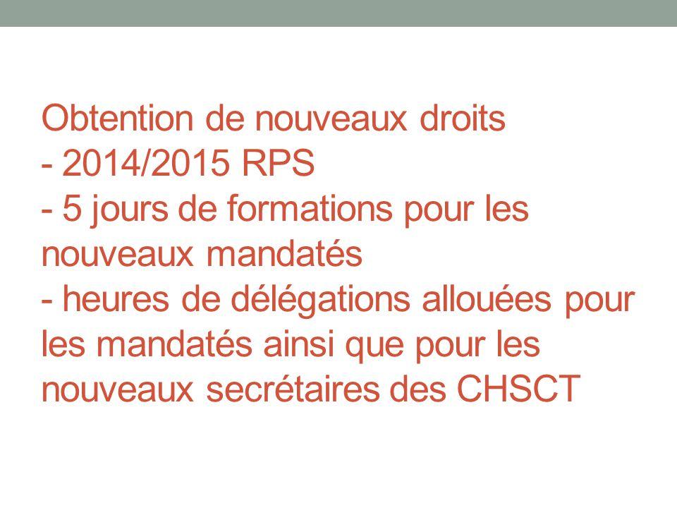 Obtention de nouveaux droits - 2014/2015 RPS - 5 jours de formations pour les nouveaux mandatés - heures de délégations allouées pour les mandatés ain