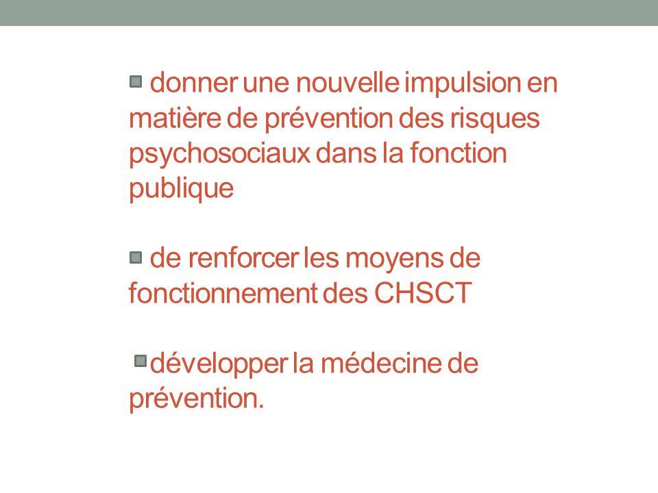donner une nouvelle impulsion en matière de prévention des risques psychosociaux dans la fonction publique de renforcer les moyens de fonctionnement d