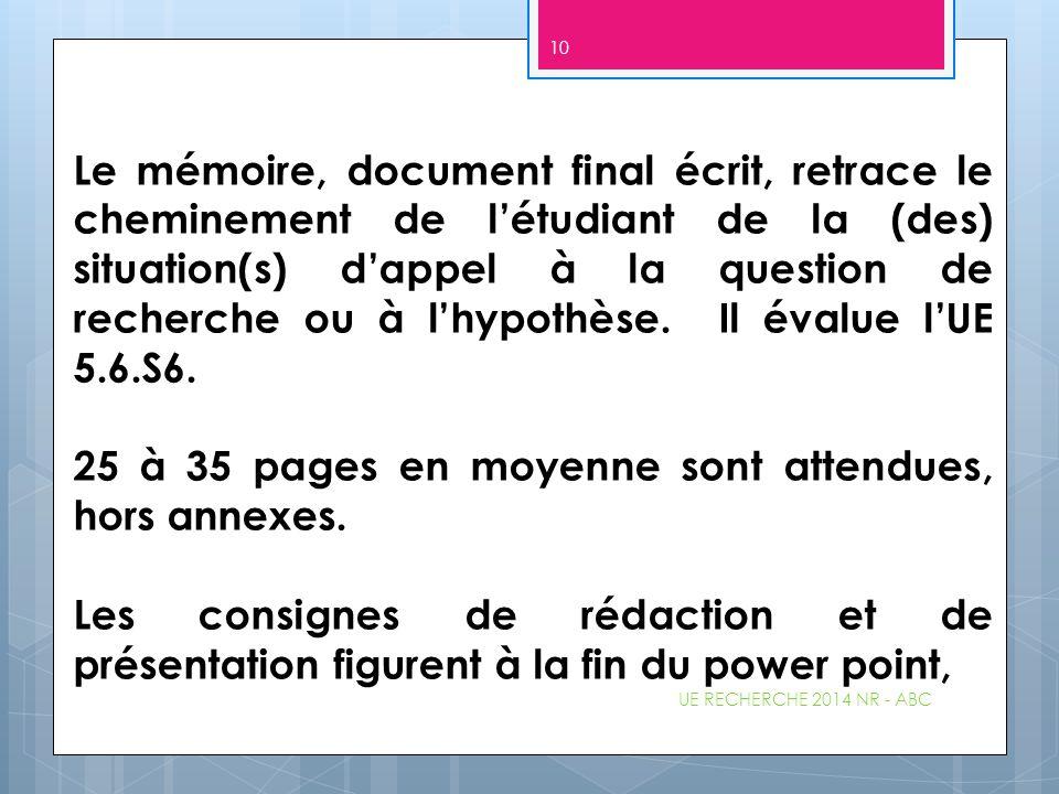 Le mémoire, document final écrit, retrace le cheminement de l'étudiant de la (des) situation(s) d'appel à la question de recherche ou à l'hypothèse. I