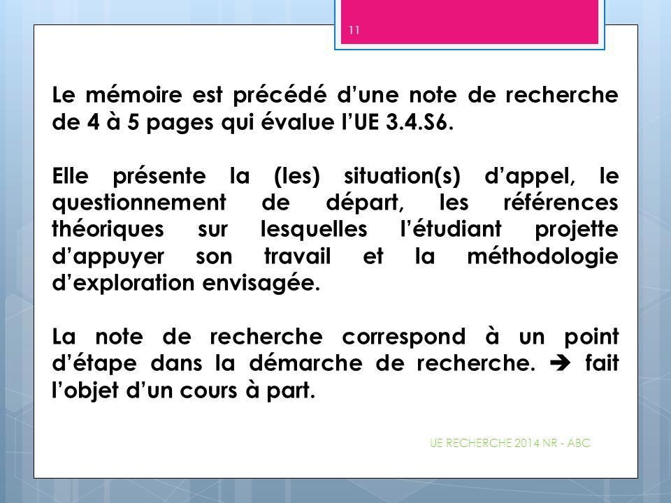 Le mémoire est précédé d'une note de recherche de 4 à 5 pages qui évalue l'UE 3.4.S6. Elle présente la (les) situation(s) d'appel, le questionnement d