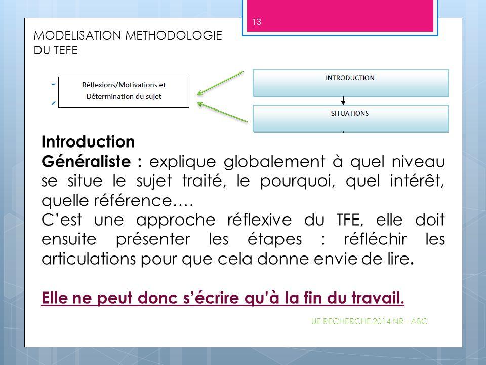 MODELISATION METHODOLOGIE DU TEFE Introduction Généraliste : explique globalement à quel niveau se situe le sujet traité, le pourquoi, quel intérêt, q