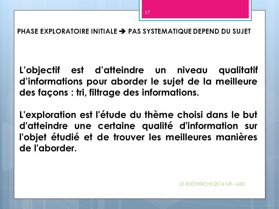 UE RECHERCHE 2014 NR - ABC 17 L'objectif est d'atteindre un niveau qualitatif d'informations pour aborder le sujet de la meilleure des façons : tri, f