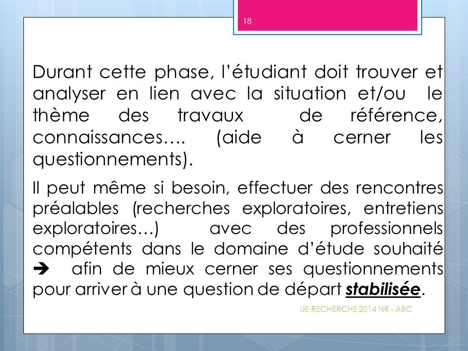 Durant cette phase, l'étudiant doit trouver et analyser en lien avec la situation et/ou le thème des travaux de référence, connaissances…. (aide à cer