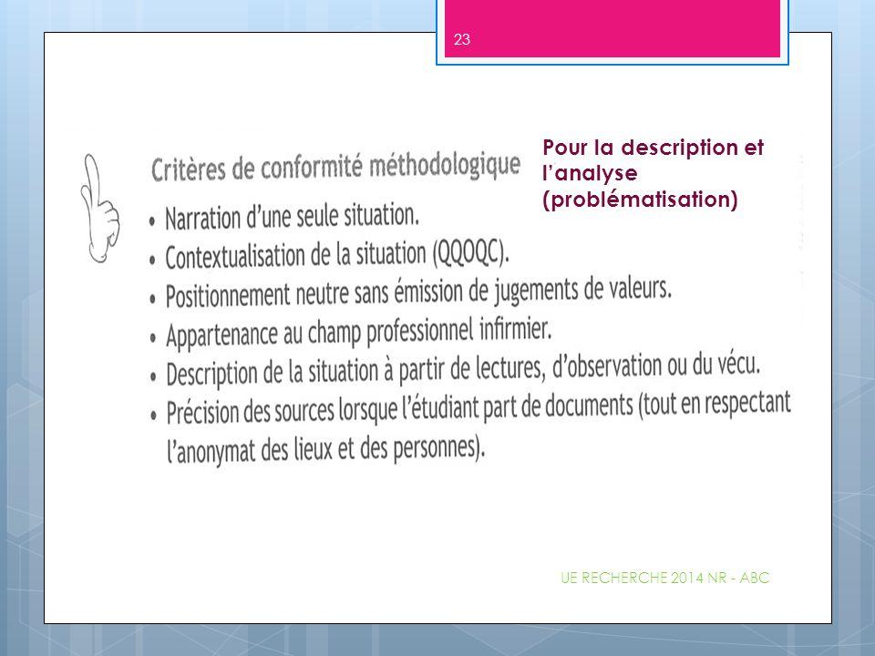 Pour la description et l'analyse (problématisation) UE RECHERCHE 2014 NR - ABC 23