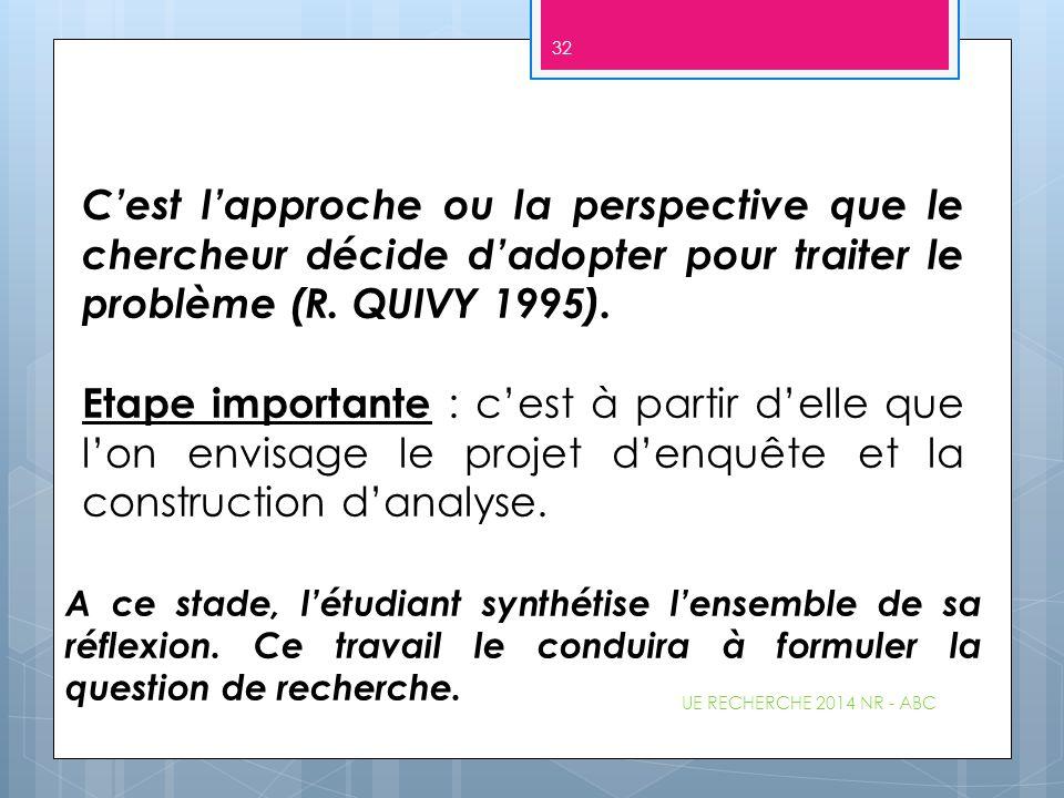 UE RECHERCHE 2014 NR - ABC 32 C'est l'approche ou la perspective que le chercheur décide d'adopter pour traiter le problème (R. QUIVY 1995). Etape imp
