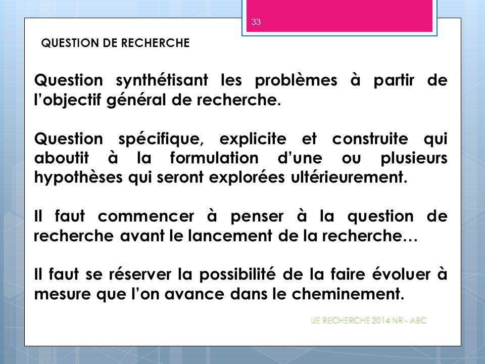 UE RECHERCHE 2014 NR - ABC 33 QUESTION DE RECHERCHE Question synthétisant les problèmes à partir de l'objectif général de recherche. Question spécifiq