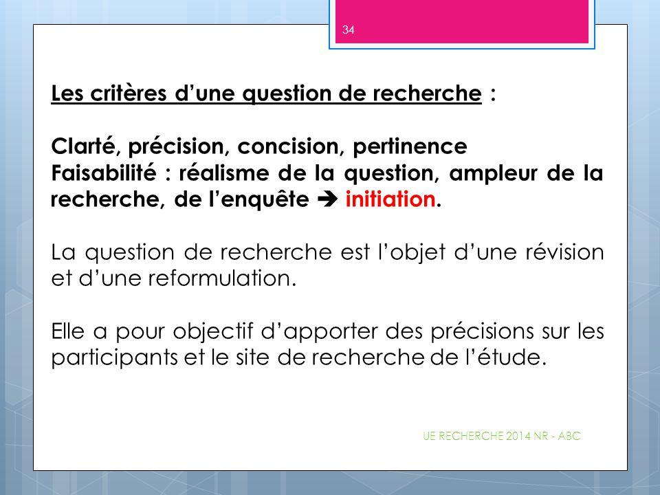 Les critères d'une question de recherche : Clarté, précision, concision, pertinence Faisabilité : réalisme de la question, ampleur de la recherche, de