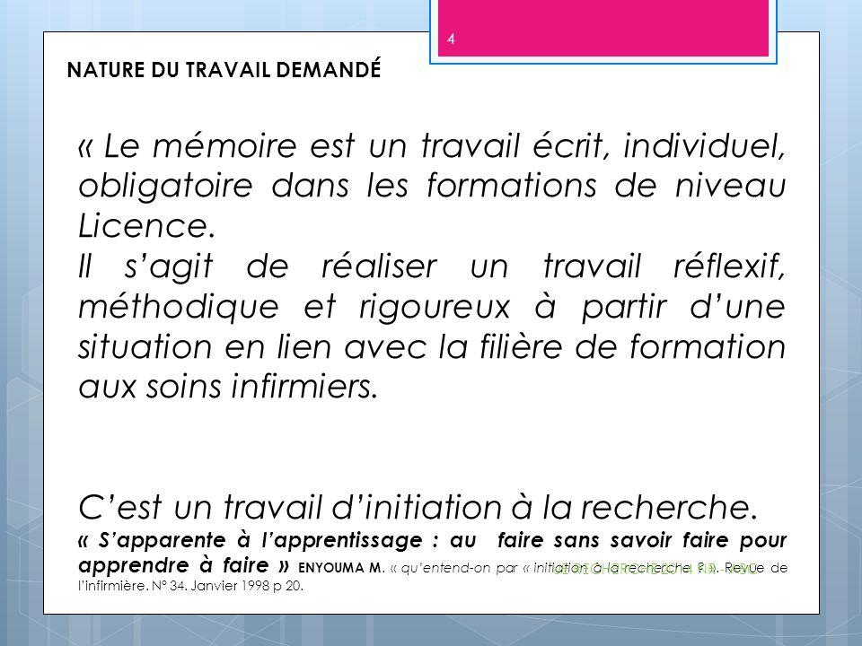 NATURE DU TRAVAIL DEMANDÉ « Le mémoire est un travail écrit, individuel, obligatoire dans les formations de niveau Licence. Il s'agit de réaliser un t