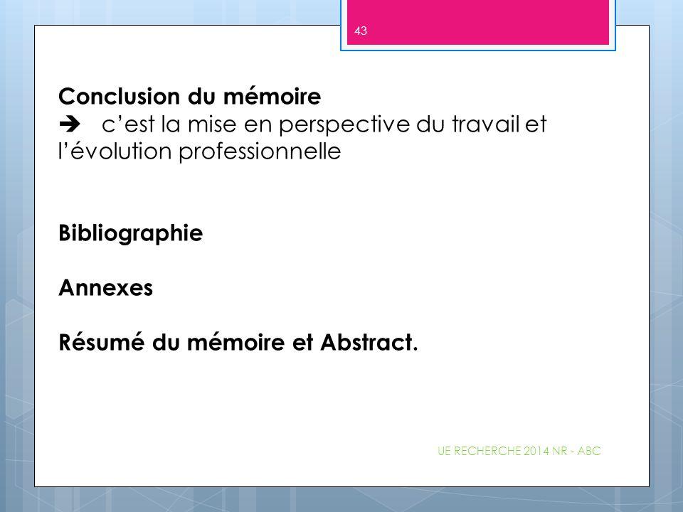 Conclusion du mémoire  c'est la mise en perspective du travail et l'évolution professionnelle Bibliographie Annexes Résumé du mémoire et Abstract. UE