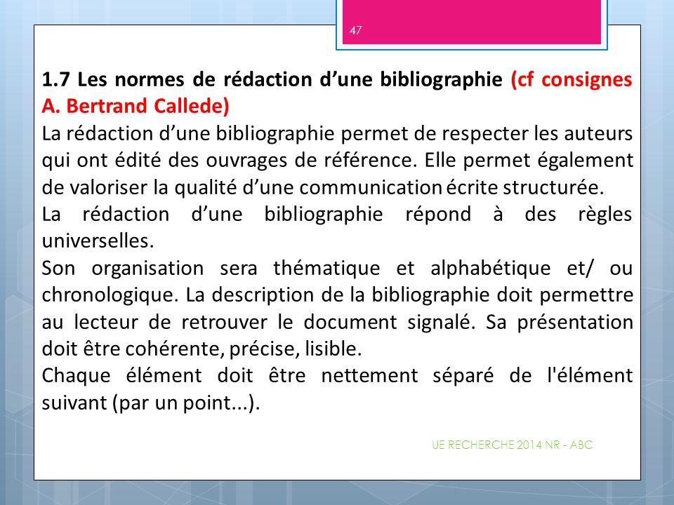 UE RECHERCHE 2014 NR - ABC 47 1.7 Les normes de rédaction d'une bibliographie (cf consignes A. Bertrand Callede) La rédaction d'une bibliographie perm
