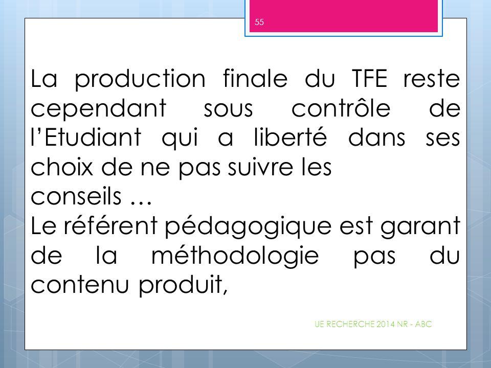 La production finale du TFE reste cependant sous contrôle de l'Etudiant qui a liberté dans ses choix de ne pas suivre les conseils … Le référent pédag