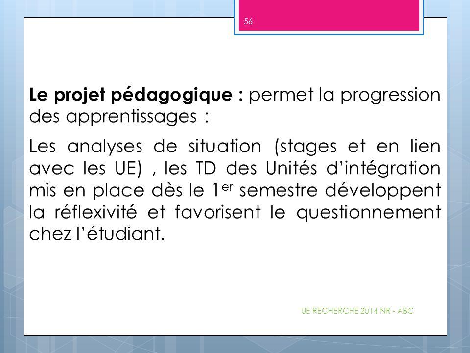 Le projet pédagogique : permet la progression des apprentissages : Les analyses de situation (stages et en lien avec les UE), les TD des Unités d'inté