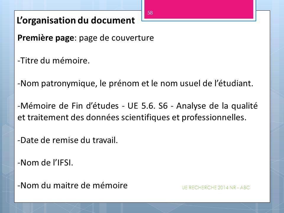 L'organisation du document Première page: page de couverture -Titre du mémoire. -Nom patronymique, le prénom et le nom usuel de l'étudiant. -Mémoire d