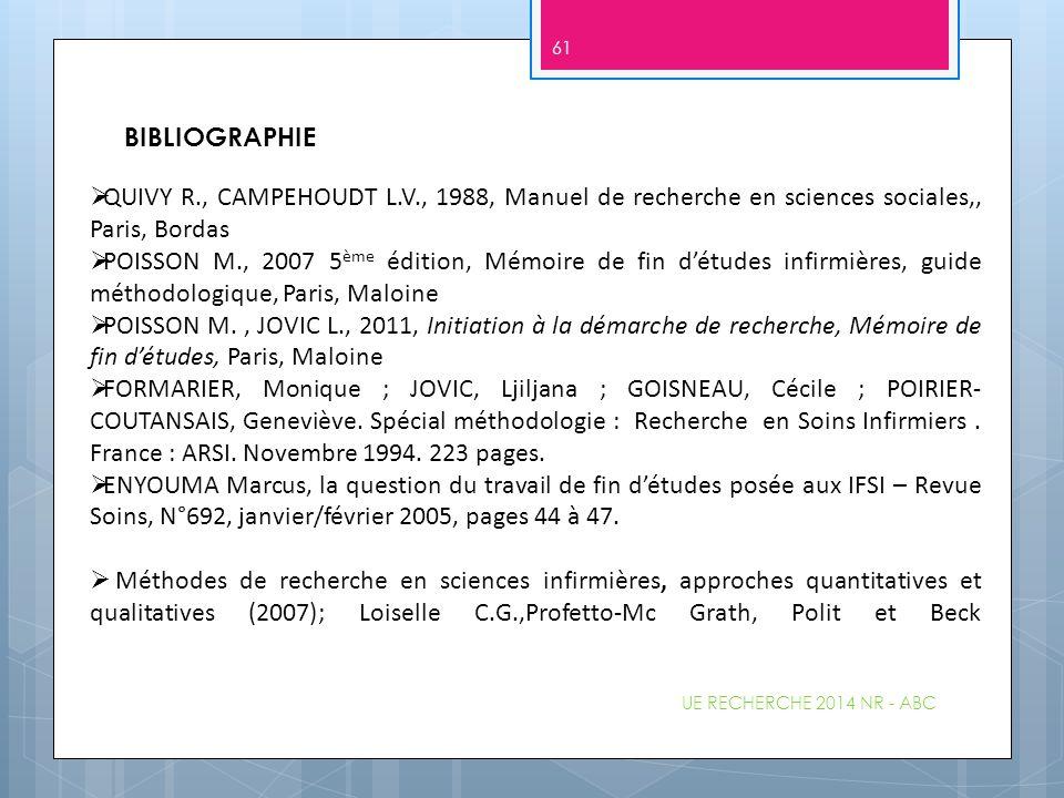  QUIVY R., CAMPEHOUDT L.V., 1988, Manuel de recherche en sciences sociales,, Paris, Bordas  POISSON M., 2007 5 ème édition, Mémoire de fin d'études
