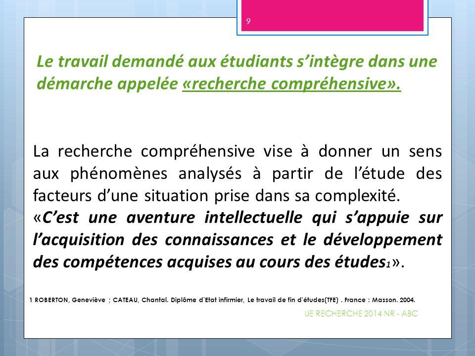 UE RECHERCHE 2014 NR - ABC 30 Cette analyse permet d'articuler les propos rencontrés et les données théoriques.