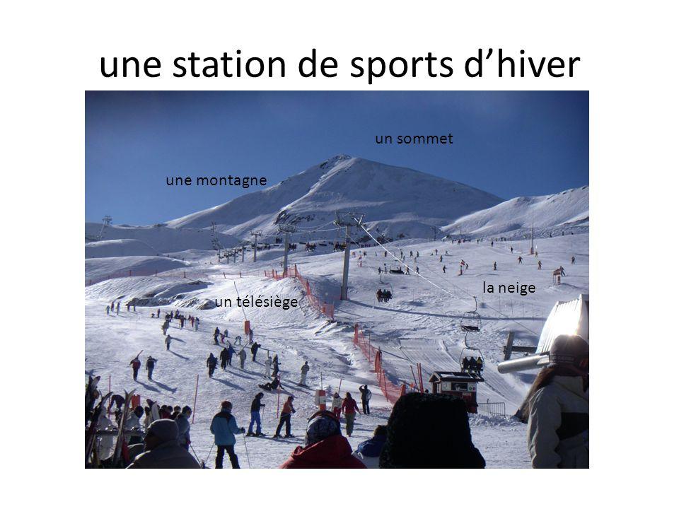 une station de sports d'hiver un sommet une montagne un télésiège la neige