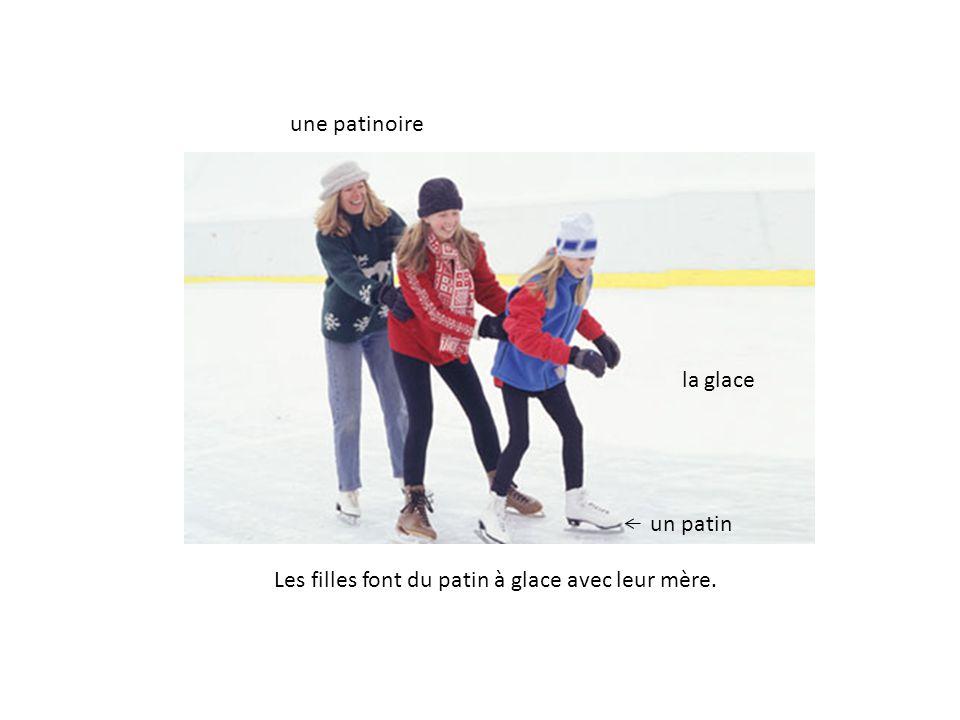 une patinoire un patin la glace Les filles font du patin à glace avec leur mère.