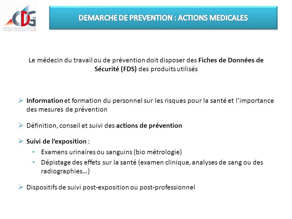 Le médecin du travail ou de prévention doit disposer des Fiches de Données de Sécurité (FDS) des produits utilisés  Information et formation du perso