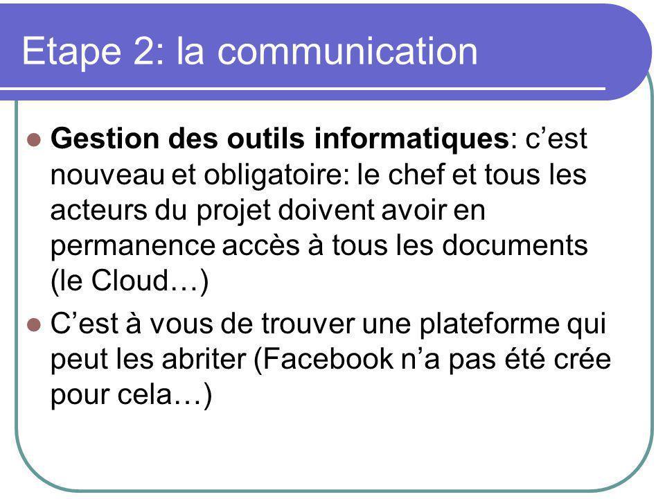 Etape 2: la communication Gestion des outils informatiques: c'est nouveau et obligatoire: le chef et tous les acteurs du projet doivent avoir en permanence accès à tous les documents (le Cloud…) C'est à vous de trouver une plateforme qui peut les abriter (Facebook n'a pas été crée pour cela…)