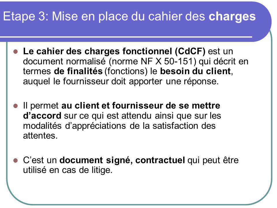 Etape 3: Mise en place du cahier des charges Le cahier des charges fonctionnel (CdCF) est un document normalisé (norme NF X 50-151) qui décrit en termes de finalités (fonctions) le besoin du client, auquel le fournisseur doit apporter une réponse.