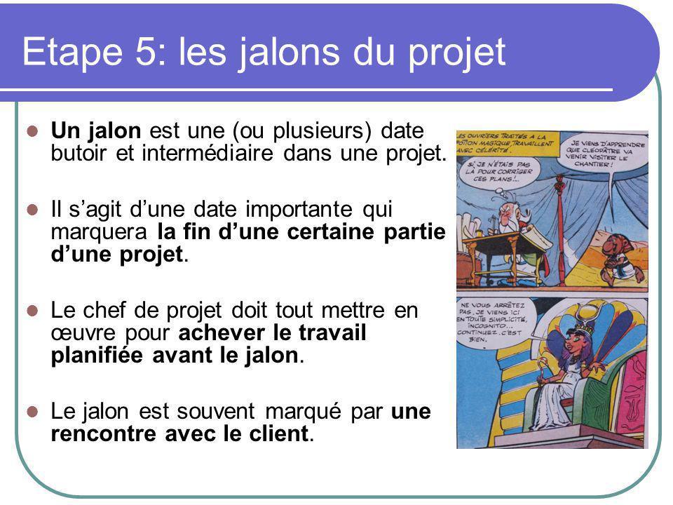 Etape 5: les jalons du projet Un jalon est une (ou plusieurs) date butoir et intermédiaire dans une projet.