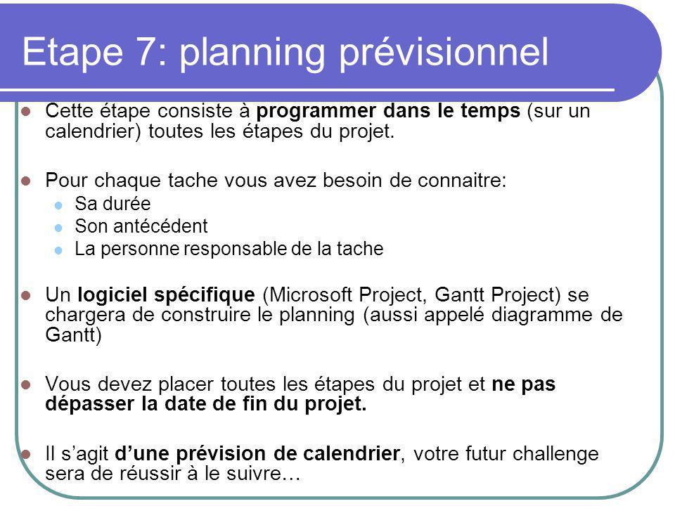 Etape 7: planning prévisionnel Cette étape consiste à programmer dans le temps (sur un calendrier) toutes les étapes du projet.