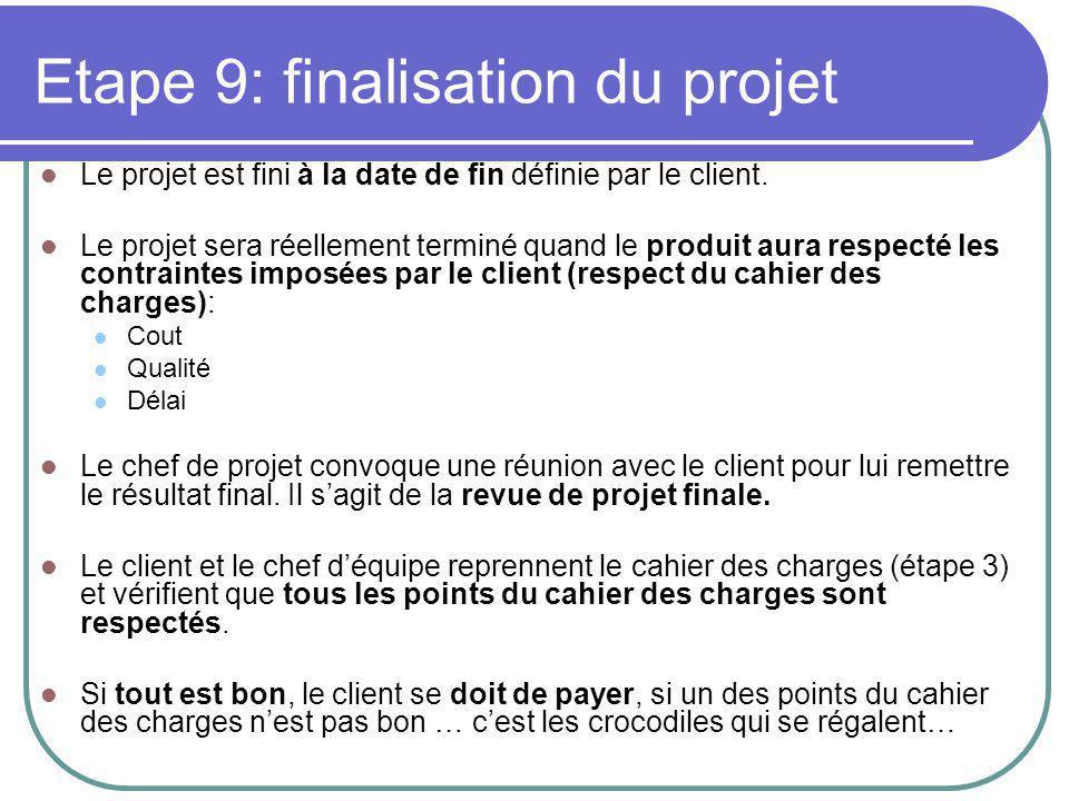 Etape 9: finalisation du projet Le projet est fini à la date de fin définie par le client.