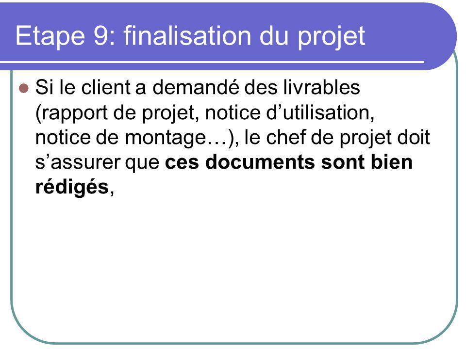 Si le client a demandé des livrables (rapport de projet, notice d'utilisation, notice de montage…), le chef de projet doit s'assurer que ces documents sont bien rédigés,