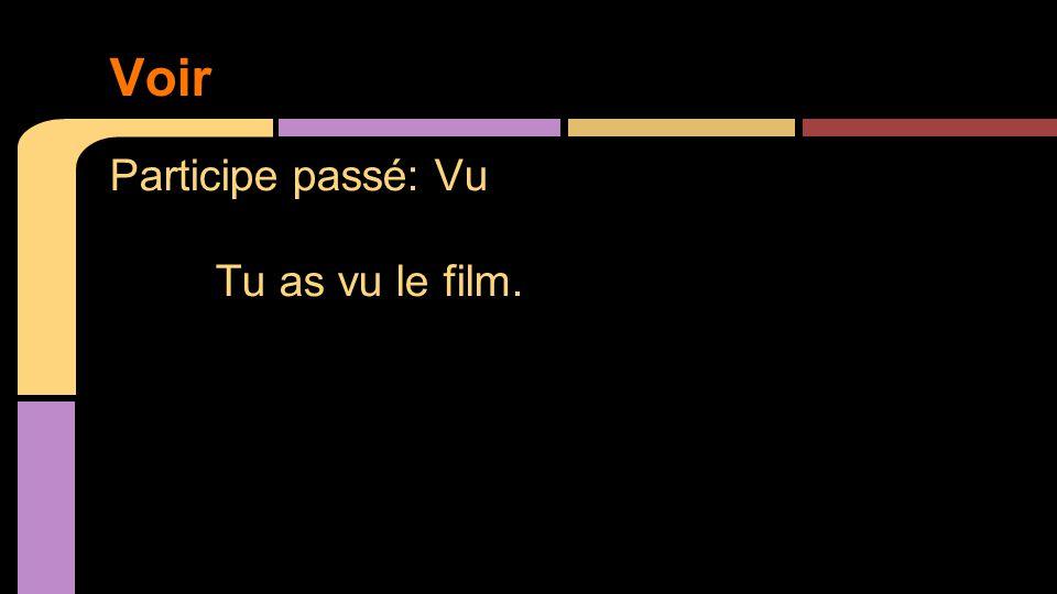 Participe passé: Vu Tu as vu le film. Voir