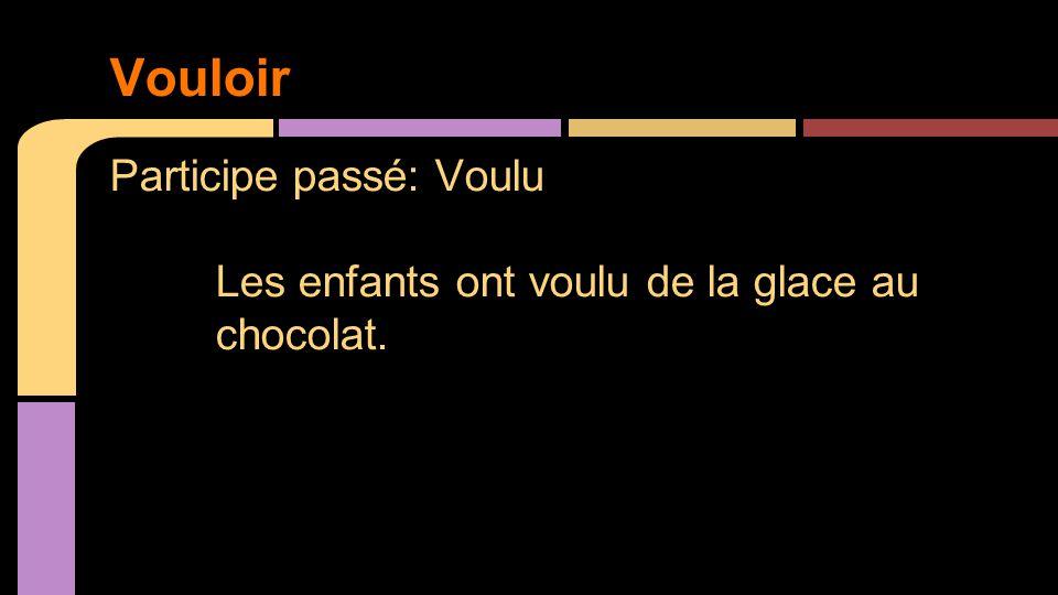 Participe passé: Voulu Les enfants ont voulu de la glace au chocolat. Vouloir