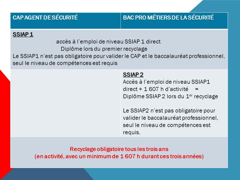 CAP AGENT DE SÉCURITÉBAC PRO MÉTIERS DE LA SÉCURITÉ PSE1 délivré si la formation est assurée par une personne habilitée à former au PSE1.