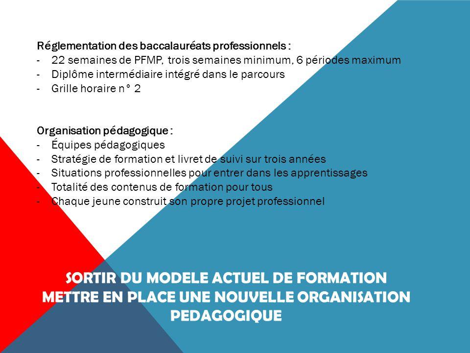 Les élèves reçoivent une formation sur deux lieux : l'établissement scolaire et en milieu professionnel lors des P.F.M.P réparties sur les trois années du cycle.