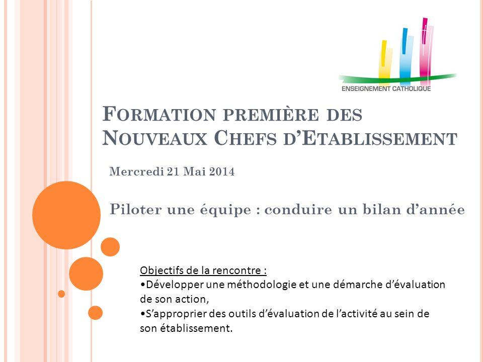 F ORMATION PREMIÈRE DES N OUVEAUX C HEFS D 'E TABLISSEMENT Mercredi 21 Mai 2014 Piloter une équipe : conduire un bilan d'année Objectifs de la rencont
